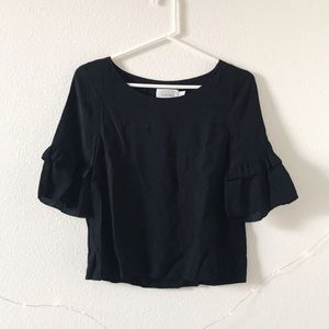& Other Stories Black Cropped Ruffle Sleeve Blouse